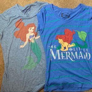 Little Mermaid V Neck Blue Shirt Lot M